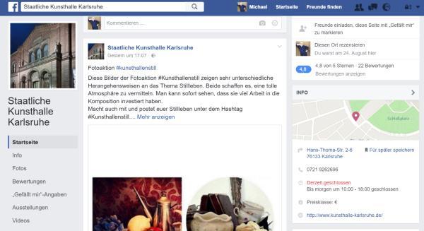 Screenshot der FB-Seite der Staatlichen Kunsthalle Karlsruhe