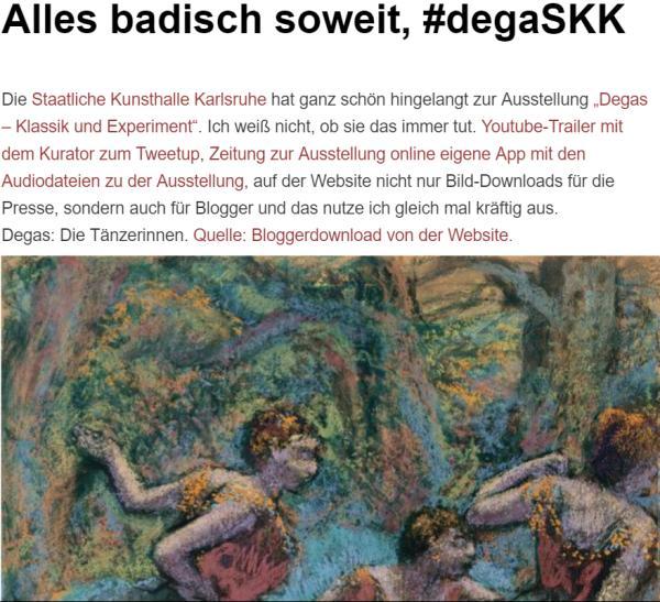 Screenshot des Beitrags zu #degasSKK der Staatlichen Kunsthalle Mannheim.