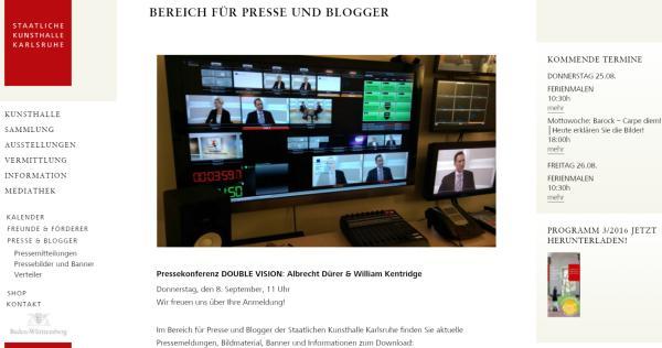 Screenshot Staatliche Kunsthalle Karlsruhe Bereich Presse & Blogger