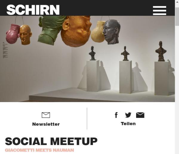 """Screenshot der Einladung zum Social Meetup der Schirn """"Giacometti-Naumann"""""""