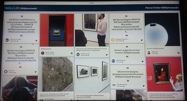 Social-Media-Wall des Städelmuseums , ja mit dem läsigen #hastag-Spam. Wir waren halt #trending