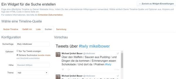 Screenshot der Twitter-Einstellunegn zu Widgeterstellung dieser Seit